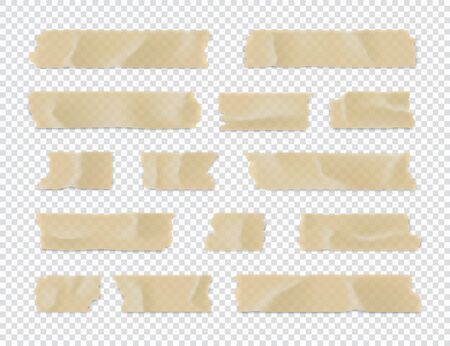 Adhesive tape set. Sticky paper strip isolated on transparent background. Vector illustration.