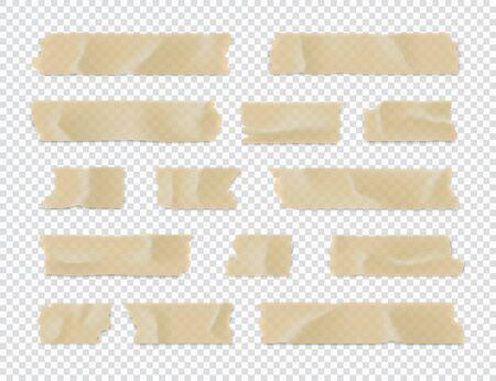 Zestaw taśm samoprzylepnych. Przyklejony pasek papieru na przezroczystym tle. Ilustracja wektorowa. Ilustracje wektorowe