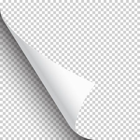 Gekräuselte Seitenecke mit Schatten auf transparentem Hintergrund. Leeres Blatt Papier. Vektor-Illustration