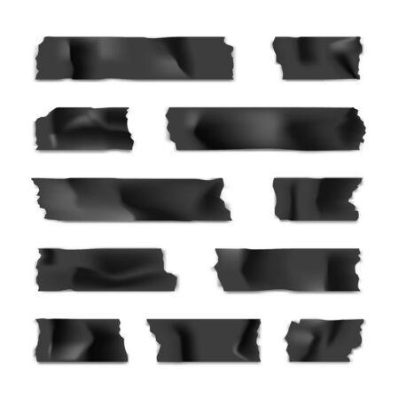 Klebeband-Set. Klebriger Papierstreifen lokalisiert auf weißem Hintergrund. Vektor-Illustration. Vektorgrafik