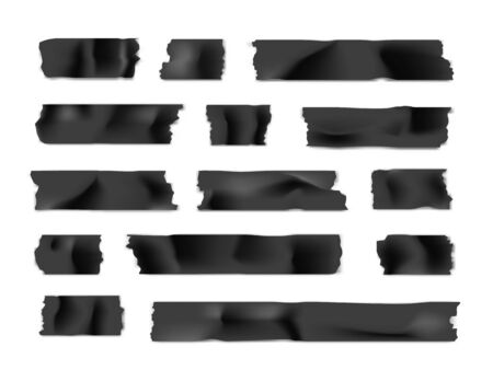 Adhesive tape set. Sticky paper strip isolated on white background. Vector illustration.
