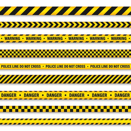 Yellow And Black Barricade Construction Tape. Police Warning Line. Brightly Colored Danger or Hazard Stripe. Vector illustration. Stock Vector - 126494269