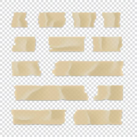 Set di nastri adesivi. Striscia di carta adesiva isolata su sfondo trasparente. Illustrazione vettoriale. Vettoriali