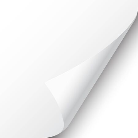 Esquina de la página rizada con sombra sobre fondo blanco. Hoja de papel en blanco. Ilustración vectorial Ilustración de vector