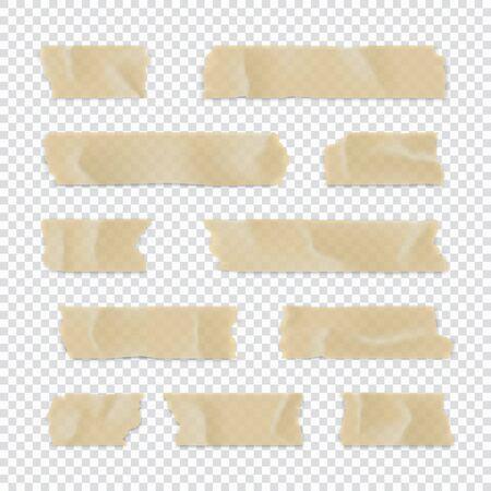 Juego de cinta adhesiva. Tira de papel adhesivo aislado sobre fondo transparente. Ilustración vectorial.