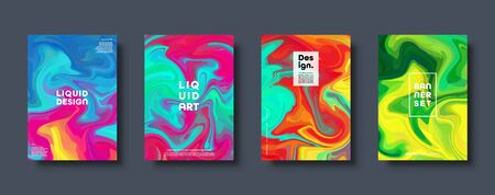 Colorful abstract geometric background. Liquid dynamic gradient waves. Fluid marble texture. Modern covers set. Eps10 vector Çizim