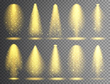 Vector spotlight set. Bright Christmas glowing light beam with sparkles. Transparent realistic glitter effect. Stage lighting Çizim