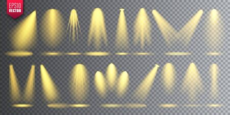 Vector spotlight set. Bright Christmas glowing light beam. Transparent realistic effect. Stage lighting. Illustration