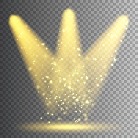 Vector spotlight. Bright Christmas glowing light beam with sparkles. Transparent realistic glitter effect. Stage lighting
