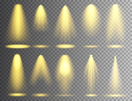 Vector spotlight set. Bright Christmas glowing light beam. Transparent realistic effect. Stage lighting Illustration