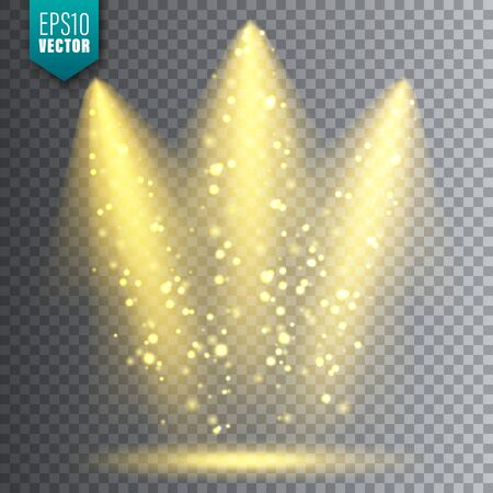 Vector spotlight. Bright Christmas glowing light beam with sparkles. Transparent realistic glitter effect. Stage lighting.