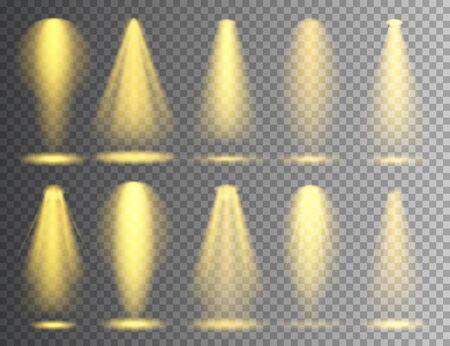 Vector spotlight set. Bright Christmas glowing light beam. Transparent realistic effect. Stage lighting Çizim