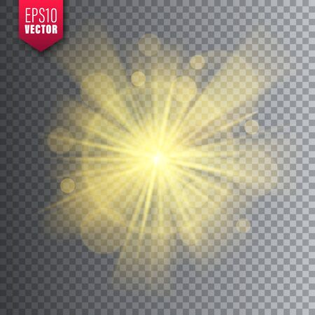 Glowing light on transparent background. Lens flare effect. Bright sparkling flash, sunlight. Vector illustration