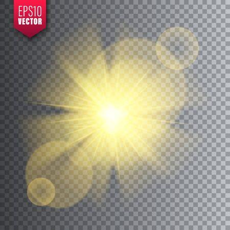 Glowing light on transparent background. Lens flare effect. Bright sparkling flash, sunlight. Vector illustration