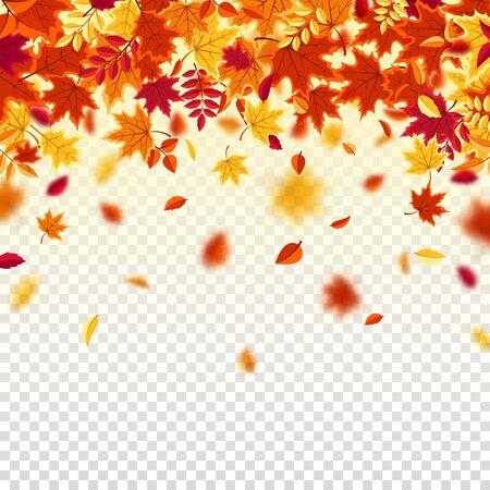 Autumn falling leaves. Nature background with red, orange, yellow foliage. Flying leaf. Season sale. Vector illustration. Ilustracja