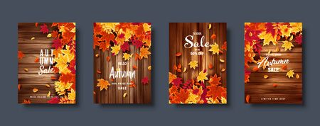 Autumn falling leaves. Banner set. Nature background with red, orange, yellow foliage. Flying leaf. Season sale. Vector illustration