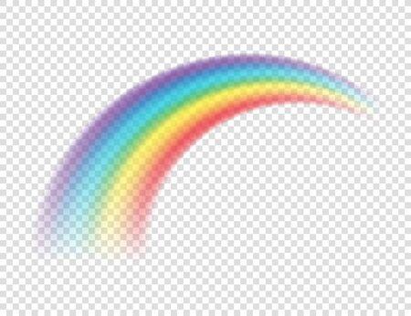 Arcobaleno colorato realistico astratto su sfondo trasparente. Illustrazione vettoriale