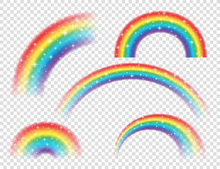 Abstract Realistic Colorful Rainbow with Shiny Stars on Transparent Background. Vector illustration