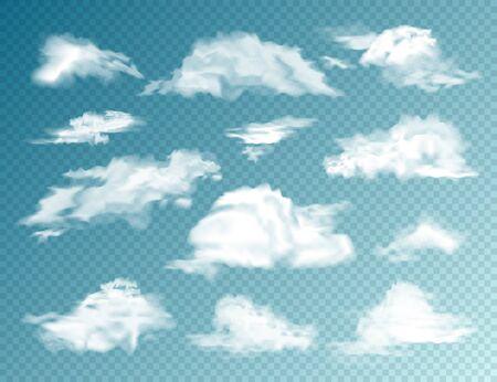 Set di nuvole realistiche. Nuvola isolata su sfondo trasparente. Panorama del cielo. Elemento di disegno vettoriale