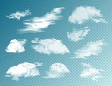 Realistic Clouds Set. Isolated Cloud on Transparent Background. Sky Panorama. Vector Design Element Stockfoto - 128183088