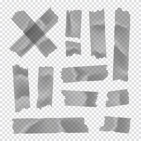 Adhesive tape set. Sticky paper strip isolated on transparent 版權商用圖片 - 129392380