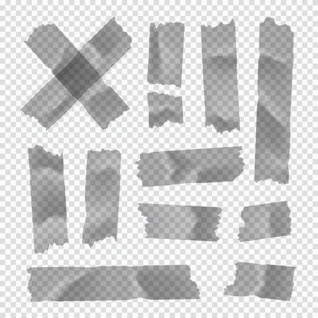 Klebeband-Set. Klebriger Papierstreifen isoliert auf transparent