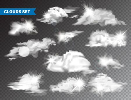 Realistic Clouds With Sun Collection. Isolated Cloud on Transparent Background. Sky Panorama With Sunlight Flare. Vector Design Element