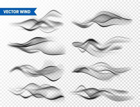 Realistic Wind Set on Transparent Иллюстрация