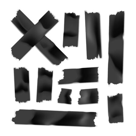 Adhesive tape set. Sticky paper strip isolated on white