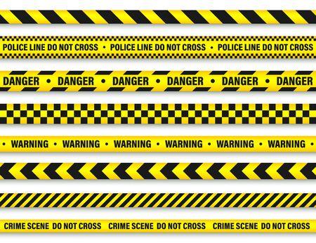 Gelbes und schwarzes Barrikade-Konstruktionsband. Vektorgrafik