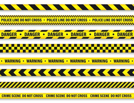 Yellow And Black Barricade Construction Tape. Stock Illustratie