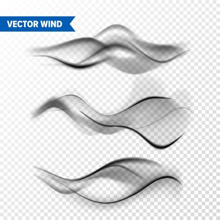 Realistic Wind Set on Transparent Ilustracja