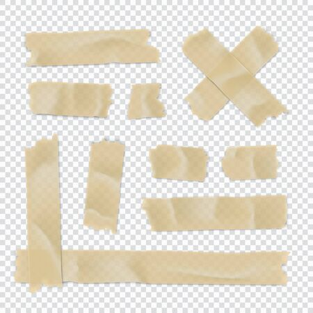 Adhesive tape set. Sticky paper strip isolated on transparent