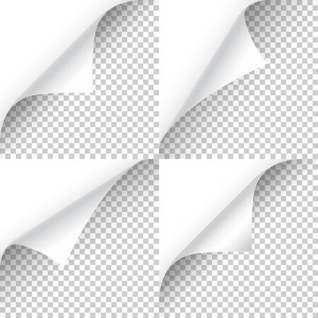 Curled page corner with shadow on transparent background collection. Blank sheet of paper. Vector illustration 向量圖像