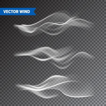 Realistic Wind Set on Transparent Illustration