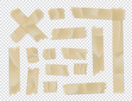 Adhesive tape set. Sticky paper strip isolated on transparent 版權商用圖片 - 129392135