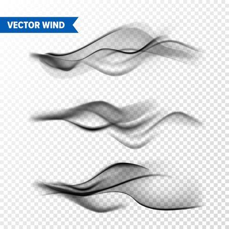 Realistic Wind Set on Transparent Vettoriali