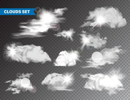 Realistic Clouds With Sun Collection. Isolated Cloud on Transparent Background. Sky Panorama With Sunlight Flare. Vector Design Element Stockfoto - 129395482