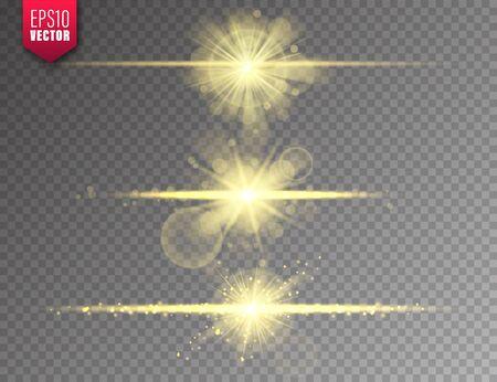 Glowing lights set on transparent