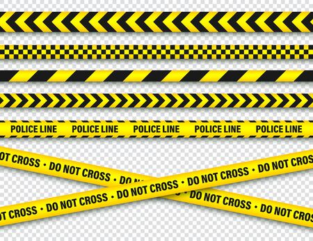 Yellow And Black Barricade Construction Tape. Illustration