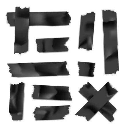 Adhesive tape set. Sticky paper strip isolated on white 版權商用圖片 - 129391977