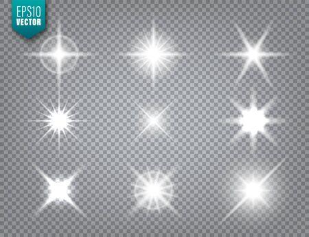 Glowing light on transparent background collection. Lens flare effect. Bright sparkling flash, sunlight. Vector illustration Illusztráció
