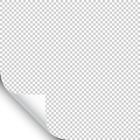 Small curled page corner with shadow on transparent background. Blank sheet of paper. Vector illustration