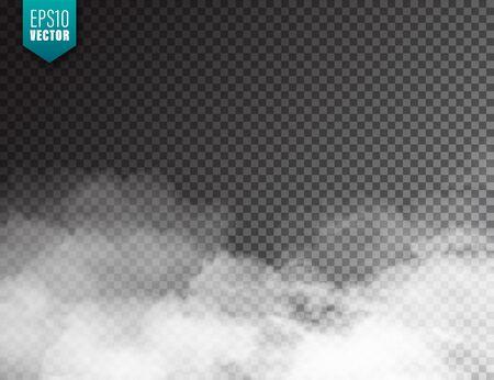 Nebbia realistica, effetto foschia. Fumo isolato su sfondo trasparente. Vapore vettoriale in aria, flusso di vapore. Nuvole Vettoriali
