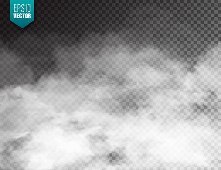 Niebla realista, efecto de niebla. Humo aislado sobre fondo transparente. Vector de vapor en el aire, flujo de vapor. Nubes