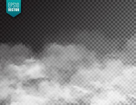 Brouillard réaliste, effet de brume. Fumée isolée sur transparent Vecteurs