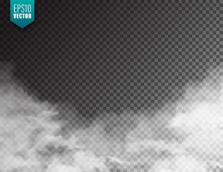 Brouillard réaliste, effet de brume. Fumée isolée sur transparent