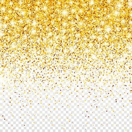 Brillo dorado brillante sobre fondo transparente de Vector. Confeti brillante cayendo con fragmentos de oro. Efecto de luz brillante para tarjeta de felicitación de Navidad o año nuevo