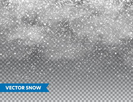 Realistic falling snow with snowflakes and clouds. Winter transparent background for Christmas or New Year card. Frost storm effect, snowfall, ice. Vector illustration