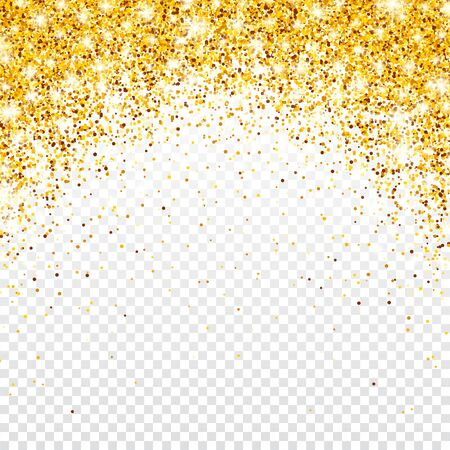 Sparkling Golden Glitter on Transparent Vector Background. Falling Shiny Confetti with Gold Shards. Shining Light Effect for Christmas or New Year Greeting Card